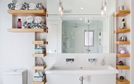 Маленькая ванная комната - используем полочки по максимуму