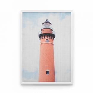 постер маяк кораллового цвета