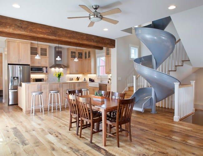 Дизайн детской комнаты - лестница - горка