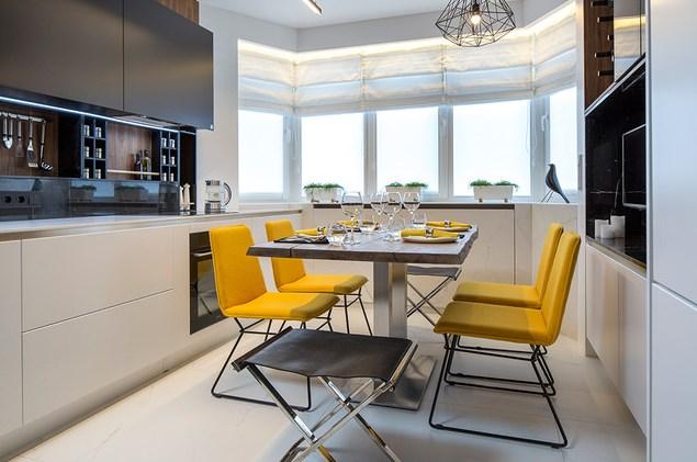Современный кухонный стол со столешницей из досок