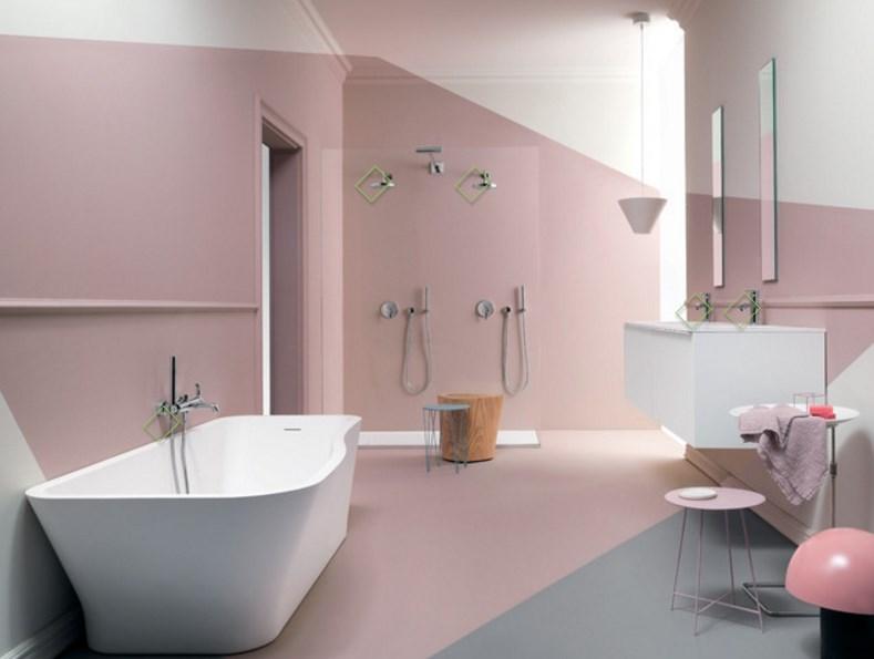 ванная дизайн интерьера в пастельных тонах