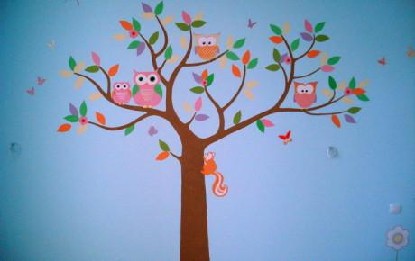 роспись стен, детская комната, совы