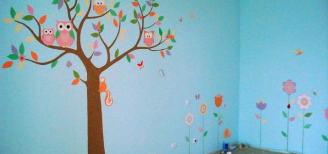 роспись стен., детская комната, совы
