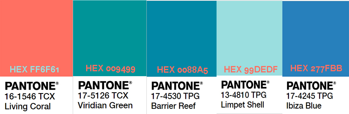 таблица сочетания кораллового цвета с другими оттенками